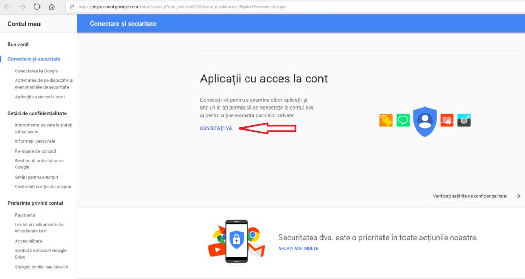 Conectare si securiate gmail