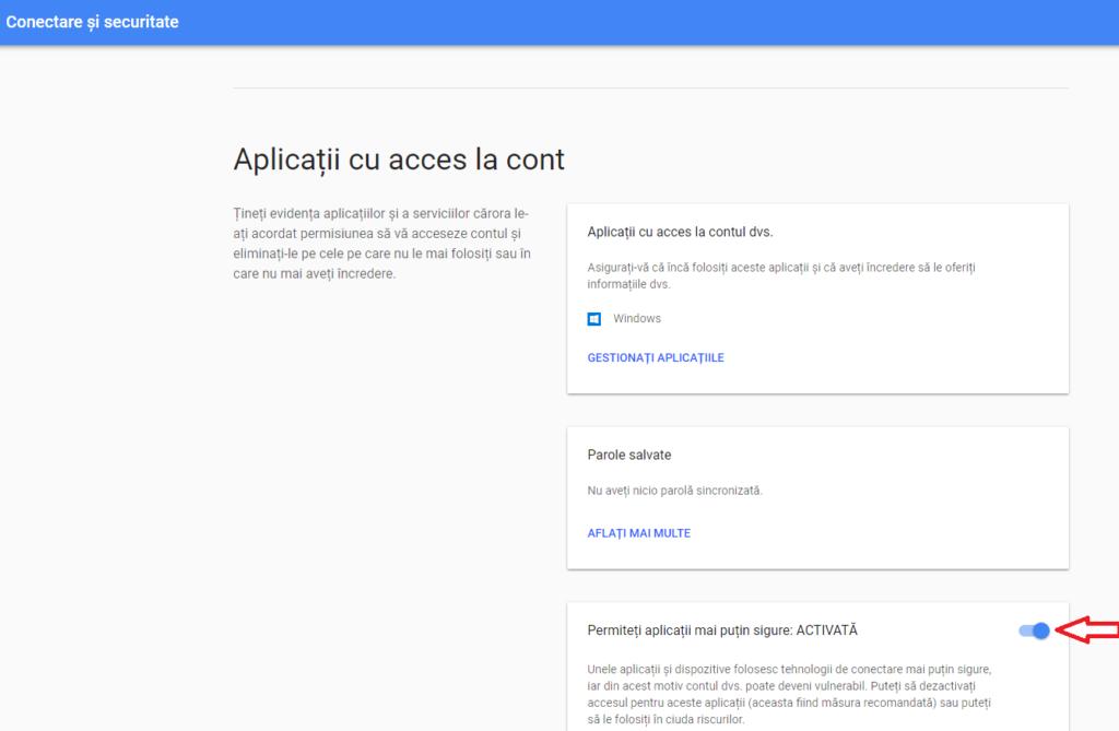 activare aplicatii gmail