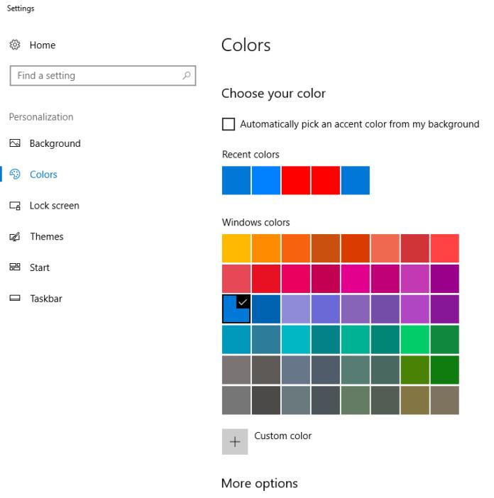 Windows 10 choose your colors