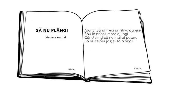 Poezie, Să nu plângi, Mariana Andrei